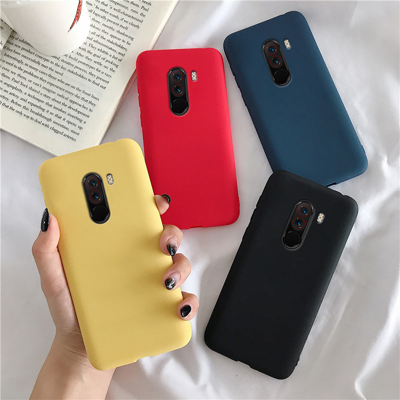 Matte Silicone Case On For Xiaomi Mi Pocophone F1 Candy Color Soft Tpu Back Cover Fundas Coque Cases For Xiaomi Poco F1 Poko