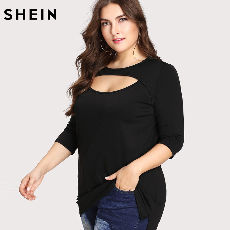 SHEIN O-Neck Plus Size Black Women T shirt Short Sleeve Casual Tees Cut Out Front Split Side Large Size Tee Black Base Top plus size cut out short sleeve t shirt