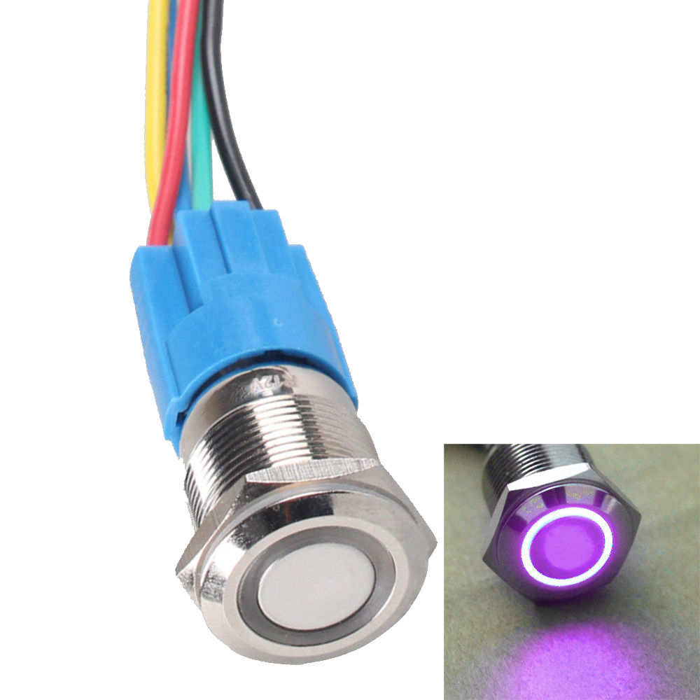 Durable 12V 16mm Car Push Button Green Angel Eye LED Latching Light Switch