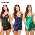 1PC Women Sexy Lingerie Imitation Ice Silk Dress Nightdress Underwear Backless Ladies Babydoll Sleepwear Erotic Sleep Tops