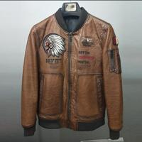 New arrival Genuine Leather Men's Sheep leather jacket Oil wax printed Baseball collar men's leather coat ribbed cuffs