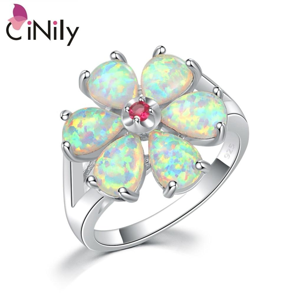 CiNily Erstellt Weiß Feuer Opal Kunzit Silber Überzogene Großhandel Blume für Frauen Schmuck Mode Geschenk Ring Größe 6-12 OJ6194