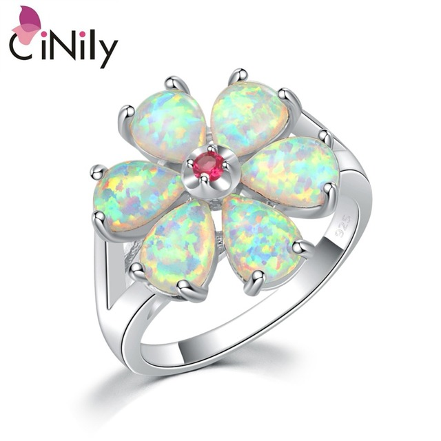 CiNily White Fire Opal Kunzite Natrual Rings Silver Plated Gardenia Flower Flora