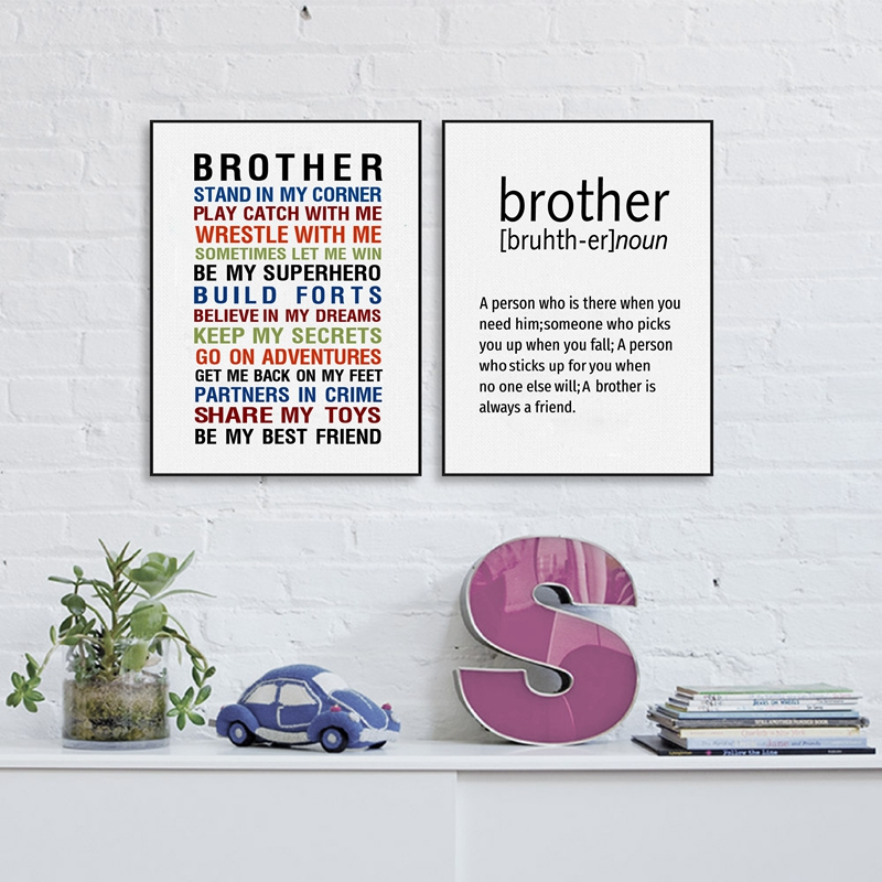 US $2.66 20% OFF Brother Quote Prints Wall Art Canvas Poster , Big Brother  Gift Canvas Painting Boys Room Decoration-in Painting & Calligraphy from ...