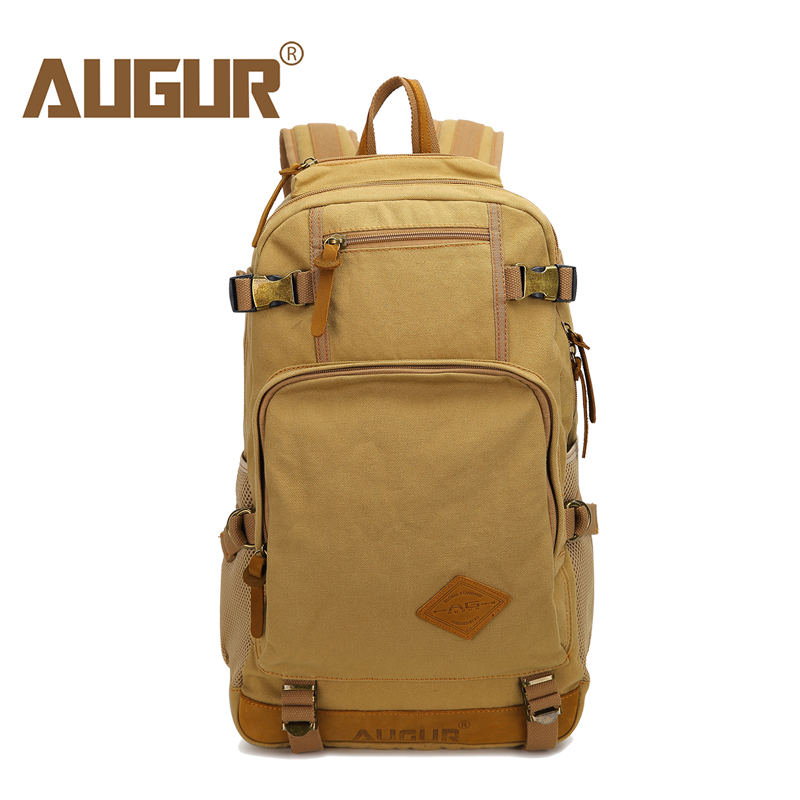 AUGUR Men Backpacks Vintage Canvas Leather Men's Backpack Larger Capacity Travel Bags For Men Male Schoolbag 14 inch Laptop Bag augur 2018 brand men backpack waterproof 15inch laptop back teenage college dayback larger capacity travel bag pack for male