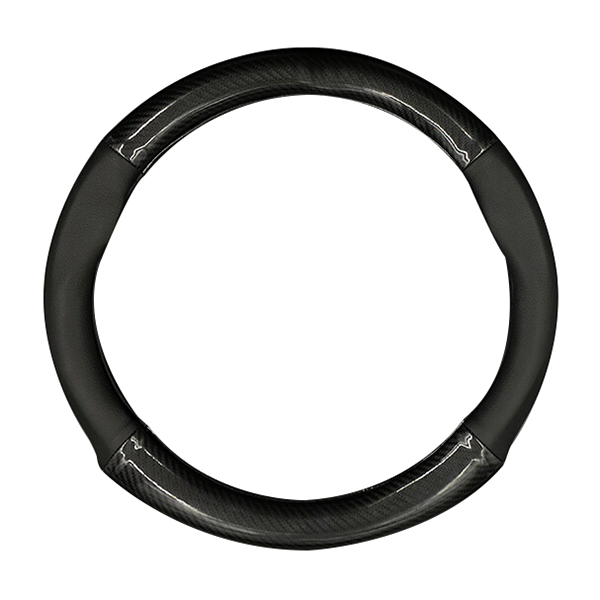 HOCASEN Car carbon fiber leather 4 quarter steering wheel cover For Cadillac srx xts XT5 CT6 atsl