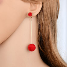 2018 NewFashion Red Black Plush Ball Drop Earrings For Women Korea personality Round Long Tassel Earrings Statement Jewelry Gift(China)
