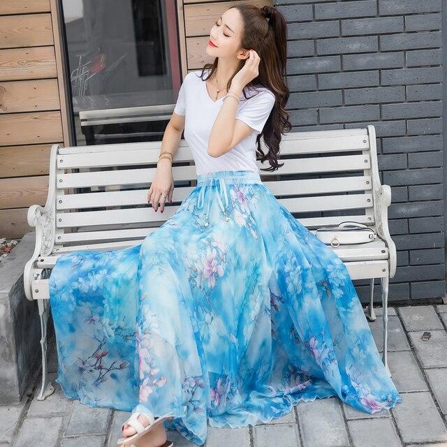 シフォンマキシスカート2018夏のビーチスカート足首の長さボヘミアン花プリントカラー