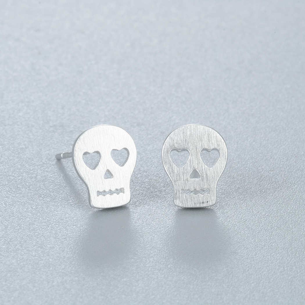 هيكل جمجمة أقراط عادي الحب روك بوهو 925 الفضة مجوهرات بسيطة للنساء بارد الحب هدية قطرة الشحن القرط الرجال