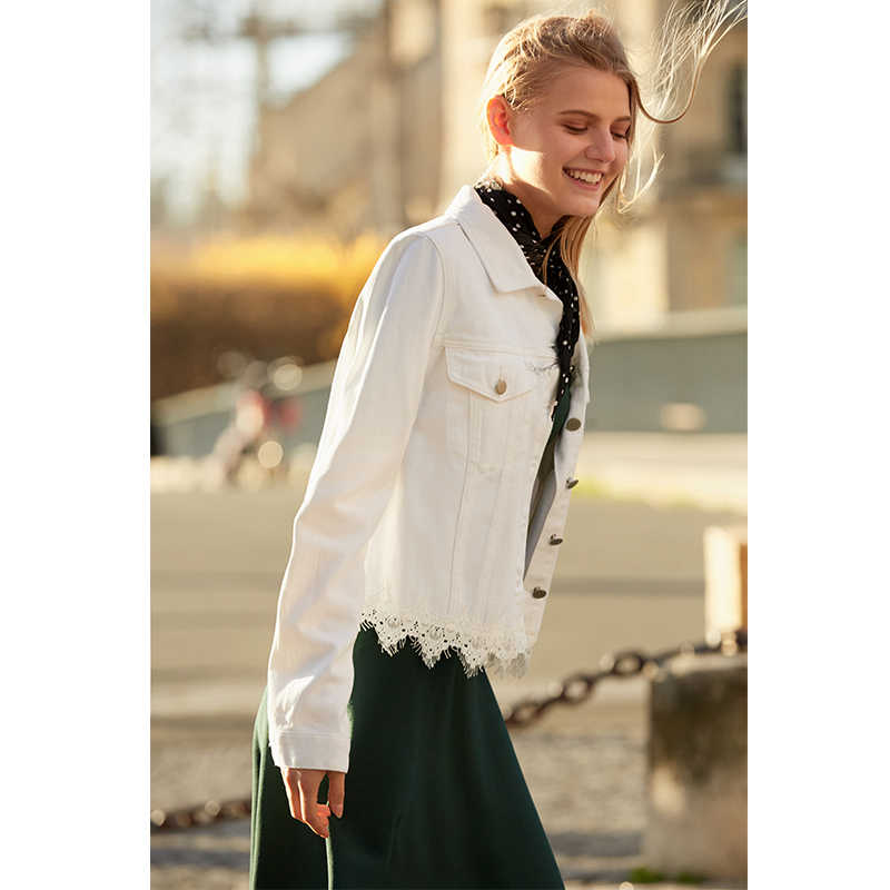 Amii Minimalista Jaqueta Jeans 2019 Mulheres Causal Sólidos Manga Comprida Emendado Lace Feminino Denim Casaco Jaqueta Curta