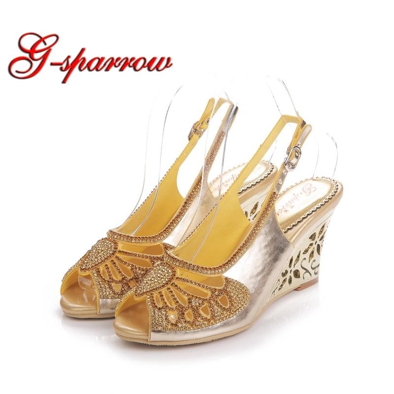 Summer Sexy Wedge Heels Fashion Women Sandals Peep Toe Gold Bling Rhinestone Wedding Party Shoes Bombas de calcanhar Wedge