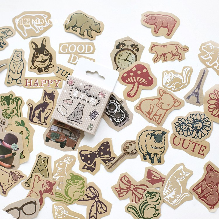 45pcs/pack Cute Animals Label Stickers Decorative Stationery Stickers Scrapbooking DIY Diary Album Stick Label