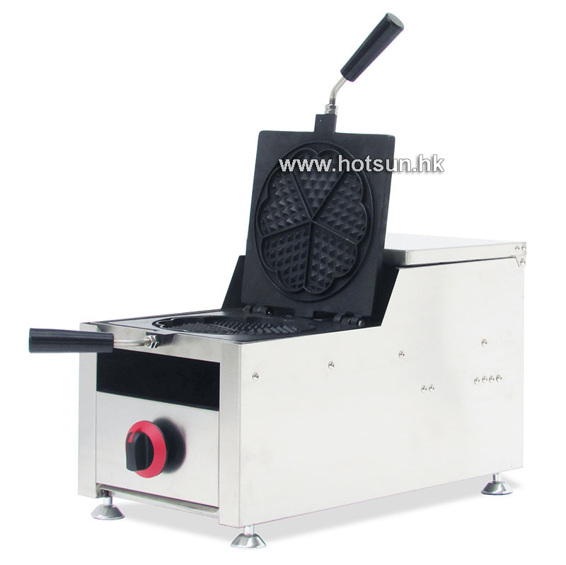 Commercial Non-stick LPG Gas Heart Shaped Waffle Maker Iron Machine
