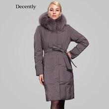 Décemment 2015 marque parka veste d'hiver femmes épaississement longue conception duvet de canard veste manteau réel fourrure de renard RUS Livraison gratuite 1A1084