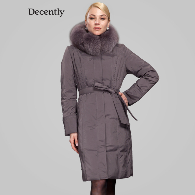 Decently 2015 brand parka winter jacket women thickening long design duck down jacket coat real fox fur RUS Free shipping 1A1084