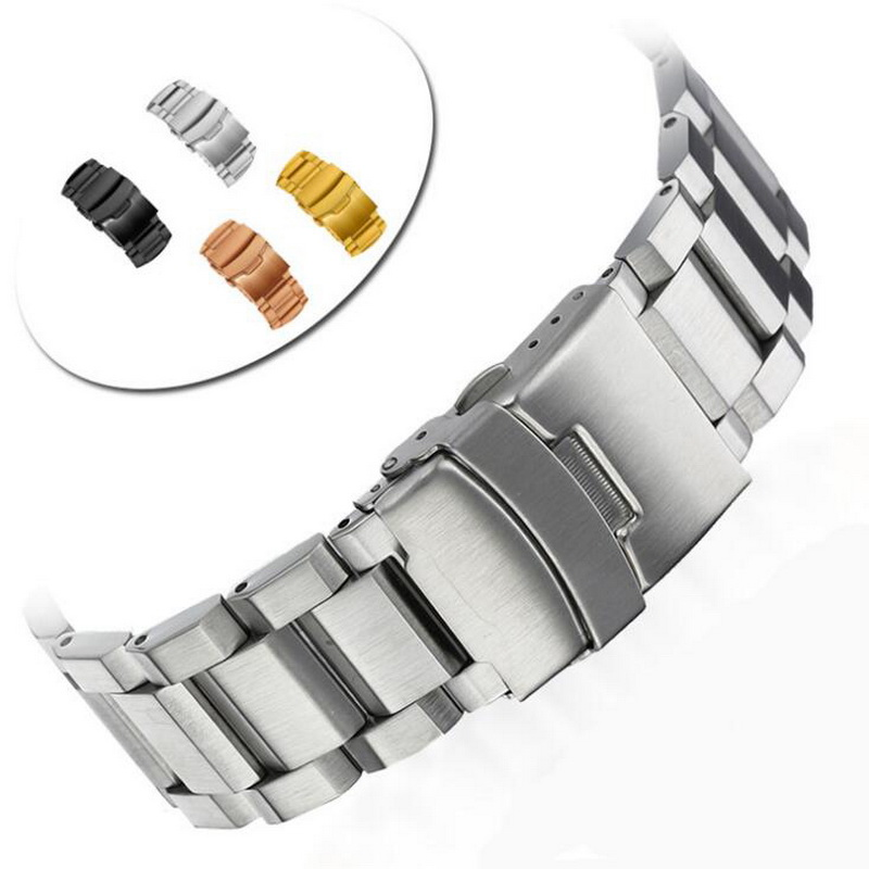 Stainless Steel Watch Band Watchband Wrist Strap For Samsung Gear S3 Wristband Bracelet Folding Clasp With Safety 22mm jansin 22mm watchband for garmin fenix 5 easy fit silicone replacement band sports silicone wristband for forerunner 935 gps