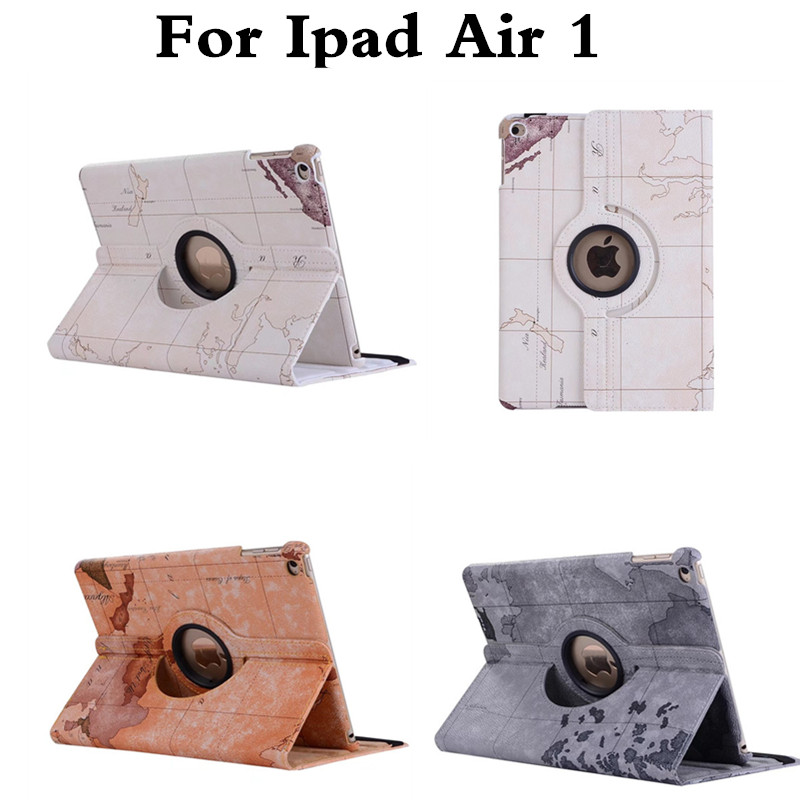 PU Leather 360 Degrees Rotate  Map Style Tablet Case For Apple Ipad Air 1 Stand Cover For Apple Ipad 5 Air1 9.7 inch