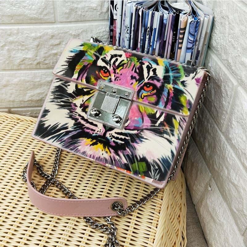 Designer brand bag printing tiger lion king Cow Leather Handbags painting Graffiti bag Female Messenger Crossbody Bag women Велюр
