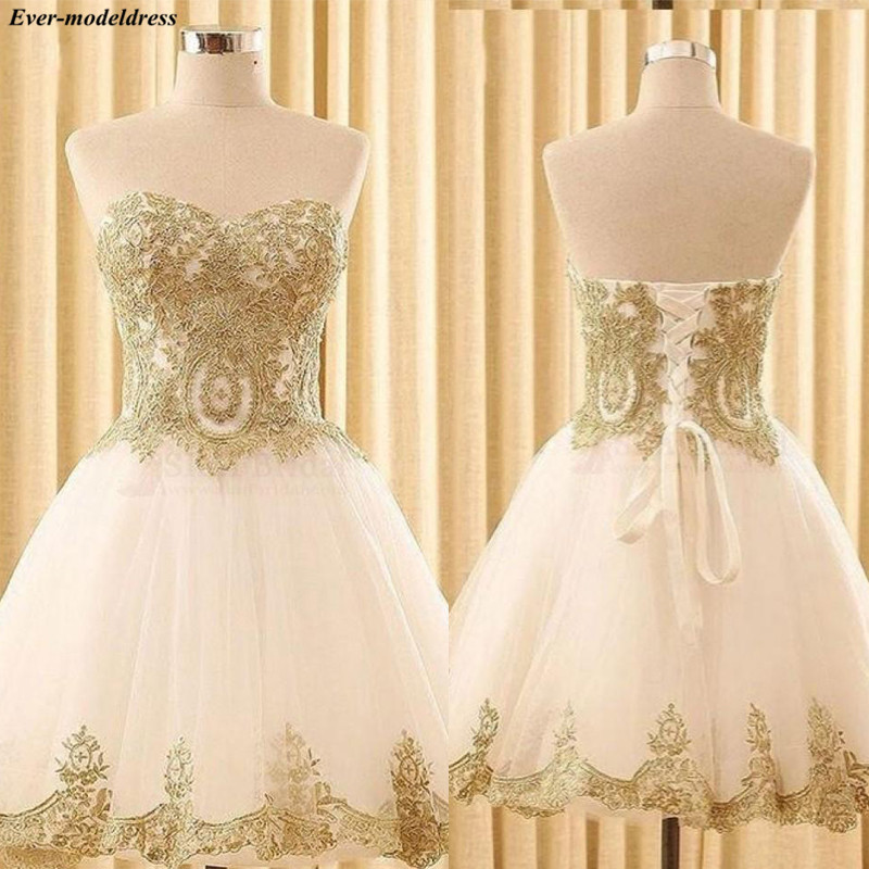 Sweetheart Graduation Dresses 2020 Short A-Line Gold Lace Appliques Lace Up Back Mini Lovely Homecoming Dresses Prom Party Gowns