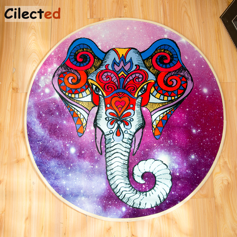 Cilected India Elephant Carpet Round Mandala Non Slip Mats For Living Room Bedroom Kitchen Parlor