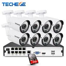 Techege 8CH 1080P POE system 2MP 3000TVL IP Camera Cloud 8CH 1080P 48V POE NVR CCTV System Night Vision Video Surveillance Kit