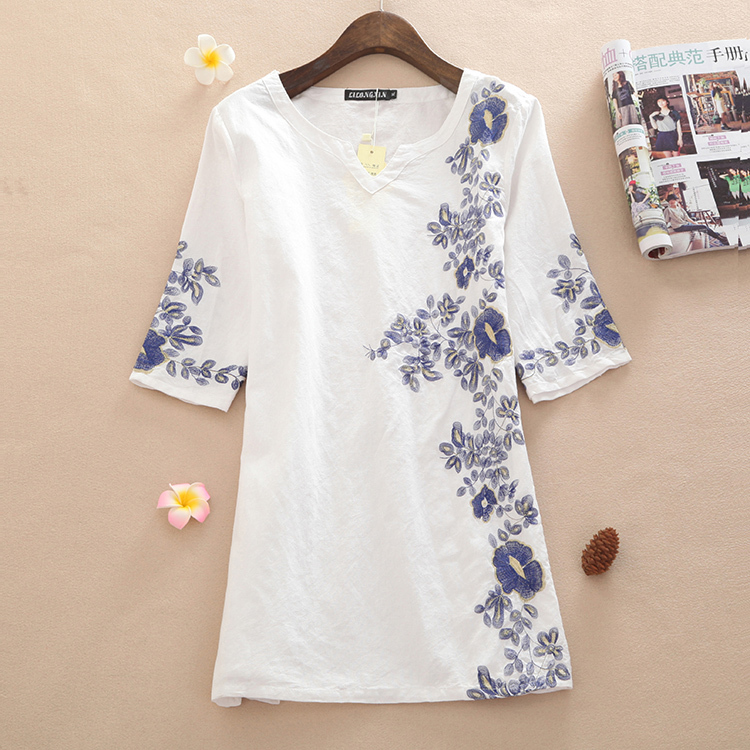 Summer women dress 2017 embroidery women vintage print one-piece casual dress spring women clothes women dresses plus size