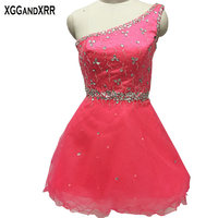 New Arrival Pink Organza A Line Homecoming Dresses 2017 One Shoulder Beaded Crystal Backless Graduation Dresses