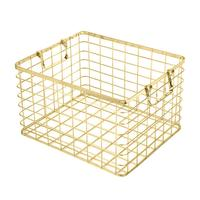 New Arrival Golden Wrought Iron Storage Basket With Handle Storage Basket Rose Gold Hamper Household Organizers Hot Selling
