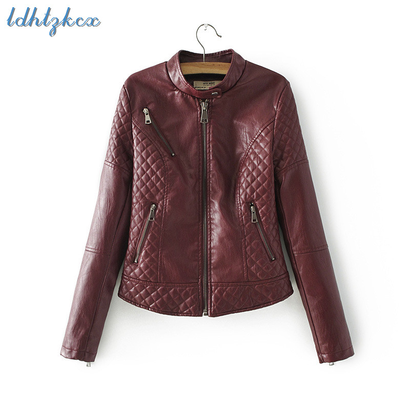 Leather   Jacket Women Plus Size Black Pink and Wine Red 3 Colors PU Polyester Coat 2018 Autumn Winter New Streetwear Coats CX525