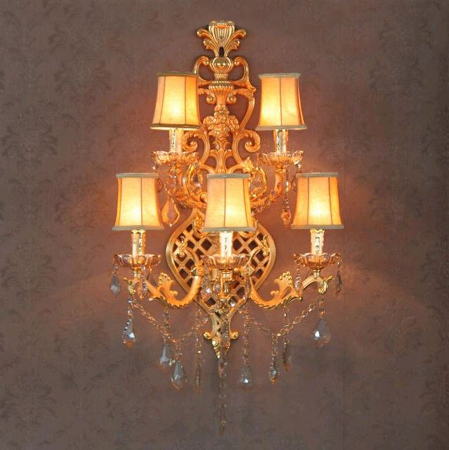 Living room Large gold wall light Sconce 5-light led crystal wall light for foyer hotel villa traditional cloth shade wall lamp