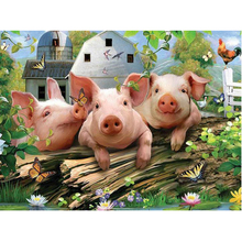 5D DIY Diamond Painting Farms Three Pigs Full Square/Round Embroidered Cross-stitch Embroidery Mosaic Decoration ZH