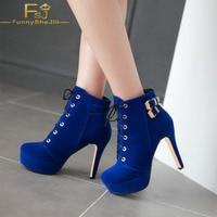 FSJ Cobalt Blue Super High Thin Heel Buckle Women Shoes Polyurethane Autumn Big day, Going out ace up Platform Suede Ankle Boots