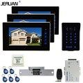 JERUAN Новый 7 ''видео-телефон двери домофон комплект 3 сенсорный ключ монитор водонепроницаемый сенсорная клавиша пароль клавиатуры камеры Катод замок