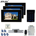 JERUAN New 7`` video door phone intercom system kit 3 Touch key monitor waterproof touch key password keypad camera Cathode lock