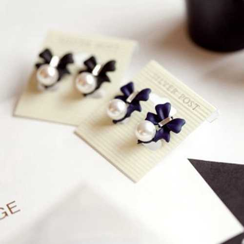 Hot Sale Fashion Rhinestone Black Blue Spray Paint Small Cute Bowknot Simulated Pearl Exquisite Stud Earrings for Women Jewelry