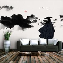 Papel tapiz 3d personalizado nuevo estilo chino paisaje TV antiguo fondo pintura mural - material impermeable de seda