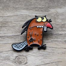 L1378 Angry Beavers Metal Brooches and Pins Enamel Pin for Backpack/Bag Badge Brooch T-shirt Collar Jewelry 1pcs