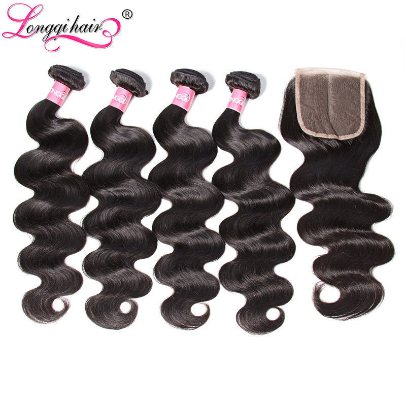 Longqi Hair Peruvian Body Wave 4 Bundles with Closure Middle Part Three Part Free Part 4x4