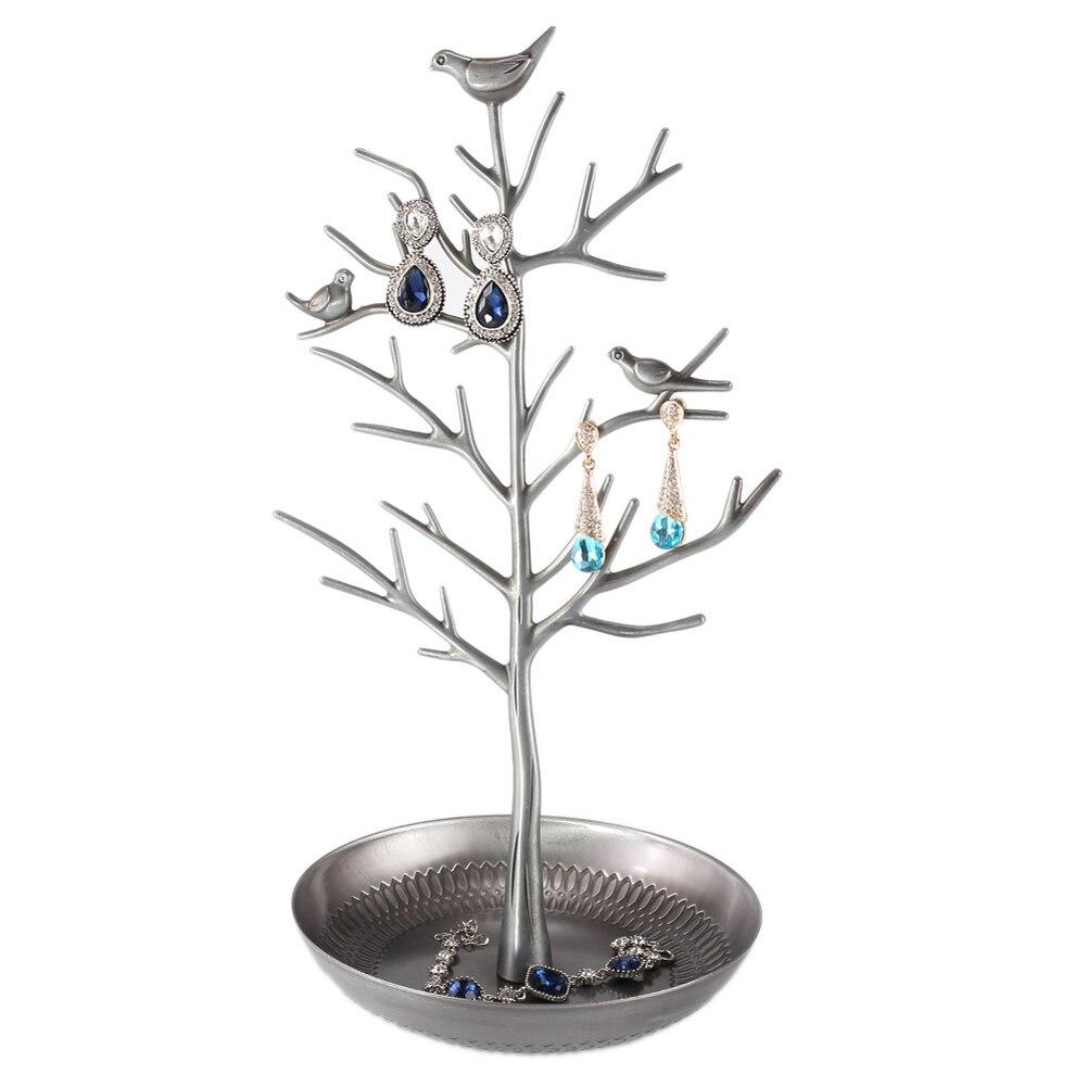 Bijoux Présentoir Rack Arbre Oiseau Stand De Fer Colliers Boucle D'oreille Titulaire Bracelet Ornement Vitrine De Mode Organisateur 4 Couleurs