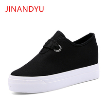 Canvas Platform Sneakers 2019 Fashion Wedge Heel Woman Lace Up Casual Shoes White Womens Vulcanized