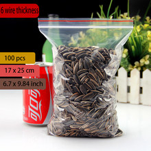 "17*25CM(6.7""x9.84"")thinckness is 0.06mm Small clear poly zipper bag reclosable ziplock bags for jewelry gift card candy 100pcs(China)"