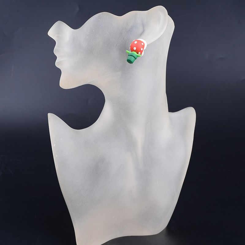 AOMU 1 çift benzersiz sevimli el yapımı polimer kil süper Mario Piranha bitki Corpse çiçek kulak çıtçıt küpe kadınlar kız takı