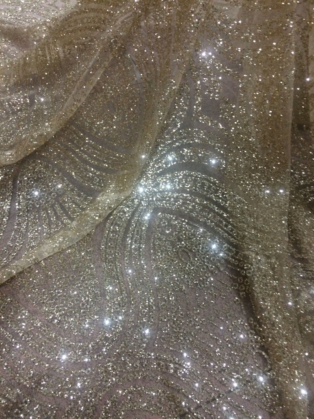 glued glitter African Tulle Lace Fabric LJY 42932 hot sale African French Lace Fabric with gold