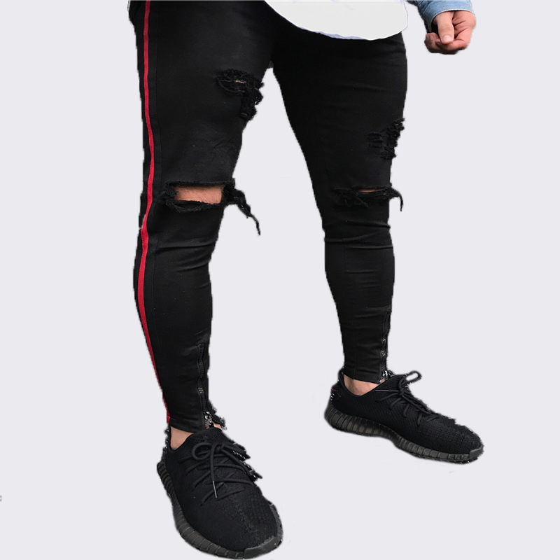 New Arrived Men Side Red Stripe Biker Jeans Denim Ripped Holes Slim Supper Skinny Hip Hop Jeans Men