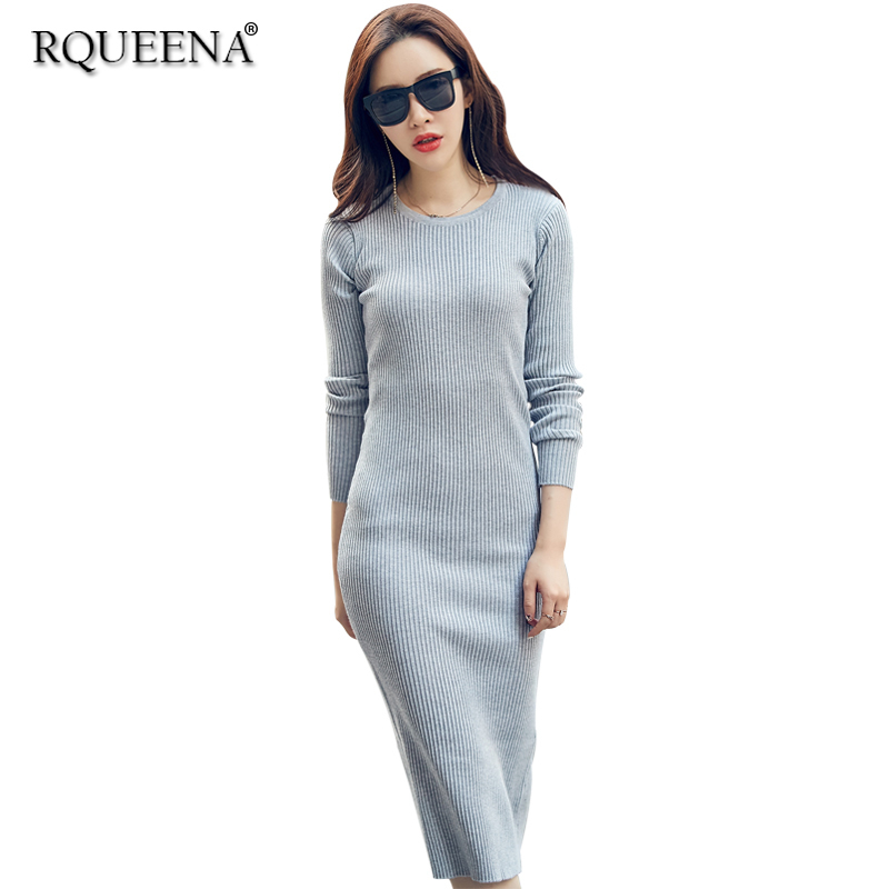 2018 New Fashion High Quality Women Sweater Dress Elegante Long Casual Round Neck Long Sleeve Bodycon Knitted Sweater Dress