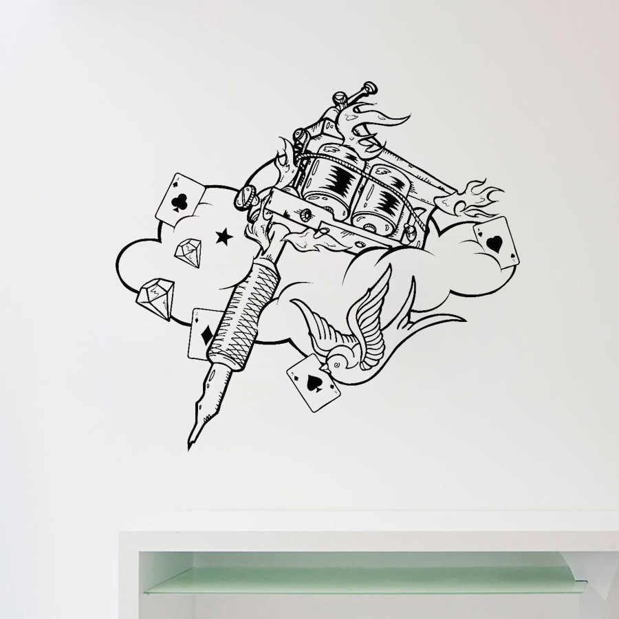 Mesin Tato Stiker Dinding Tattoo Studio Poster Vinyl Stiker Rumah Dekorasi Kamar Tidur Desain Interior Dinding Seni Salon Menghias D478 Wall Stickers Aliexpress