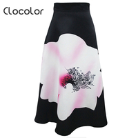 Clocolor Women Skirt Black Blue Color Block High Waist Print Flower PatchworkA Line Fall Pleated Summer