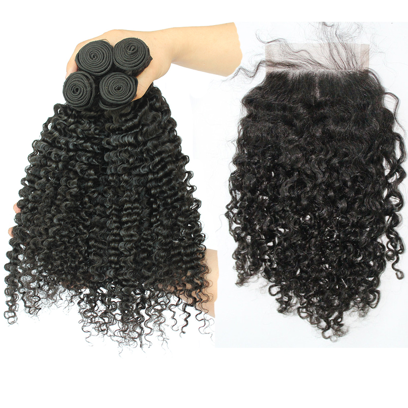 3B 3C Kinky Curly Human Hair Bundles With Closure Brazilian Natural Hair Weave Bundles With 4X4 Closure Honey Queen Remy