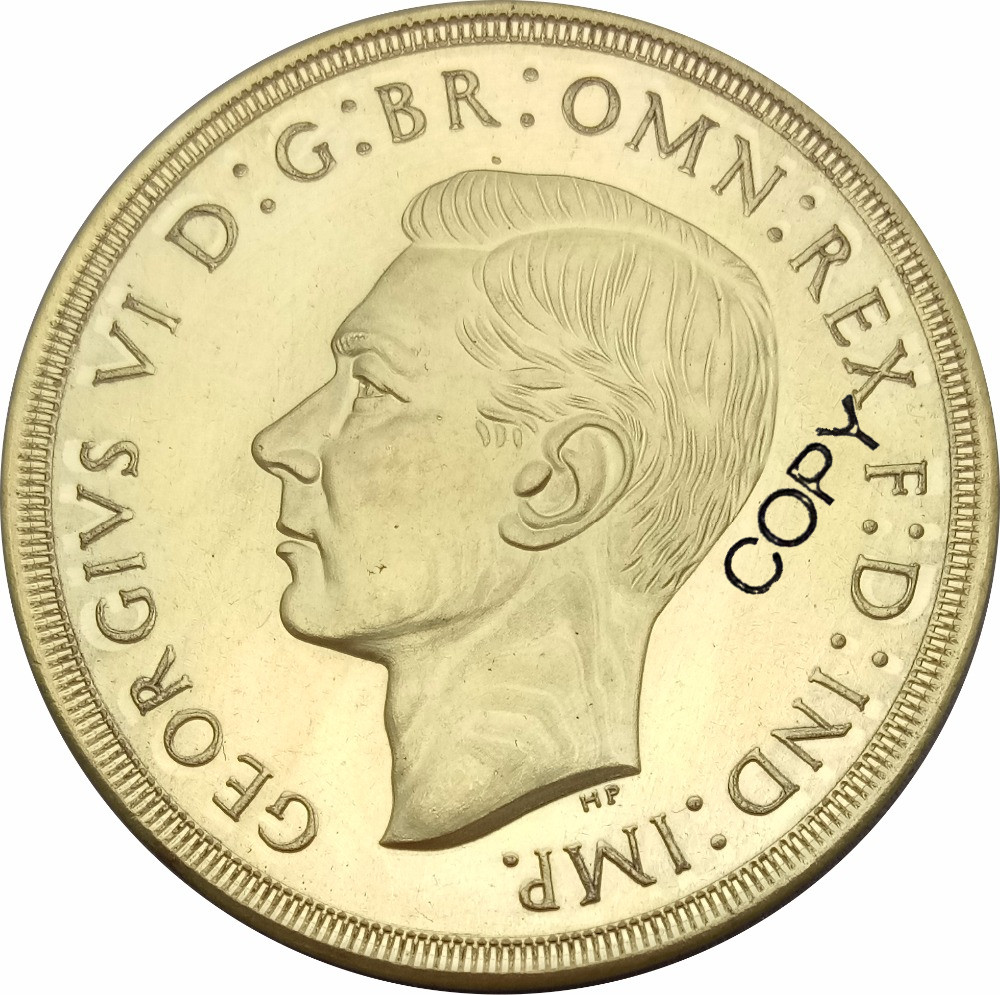 Great Britain George VI gold <font><b>coin</b></font> 5 Pounds <font><b>1937</b></font> Brass Metal Copy <font><b>Coin</b></font> Commemorative <font><b>COINS</b></font> image