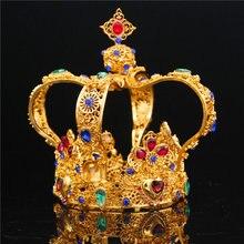Barokowa królewska korona króla mężczyzna Diadem ślubne ozdoby do włosów dla kobiet królowa tiary i korony głowy biżuteria